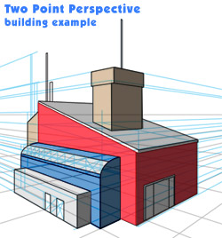 two point perspective building